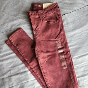 American Eagle AE Jegging Pants Maroon Size 2 Long